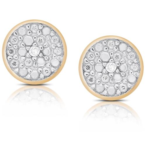 Finesque Sterling Silver or Gold Over Silver Diamond Accent Circle Stud Earrings Rose