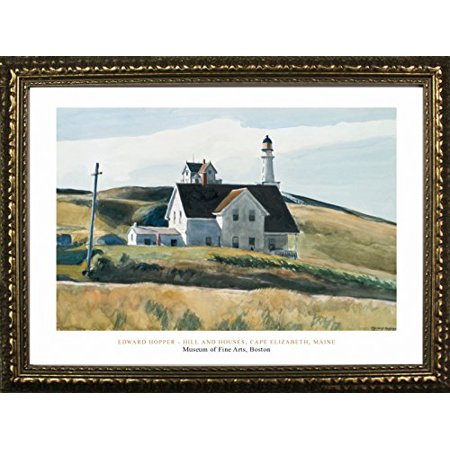 FRAMED Hill And House Cape Elizabeth Maine: 1927 by Edward Hopper 24x32 Art Print Poster Famous Painting Landscape Field Hills White House Coastal Lighthouse From Museum of Fine Arts Boston Collection