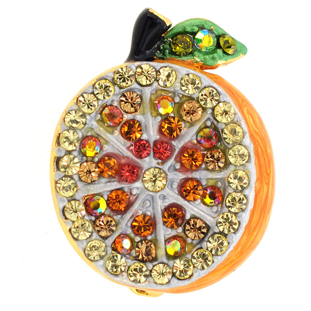 Orange Fruit Swarovski Crystal Pin Brooch by
