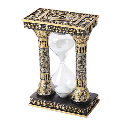 5.75 Inches Ancient Egyptian Black and Golden Column Sandtimer Statue Figurine
