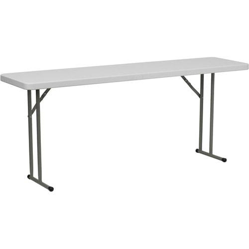 """Flash Furniture 18"""" x 72"""" Plastic Folding Table, White"""
