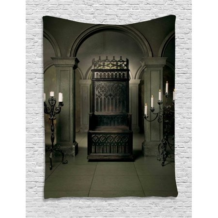 Gothic Decor Wall Hanging Tapestry, Royal Throne In Medieval Castle Renaissance Kingdom Heritage Retro Antique Empire Photo, Bedroom Living Room Dorm Accessories, By (Antique Empire Collection)