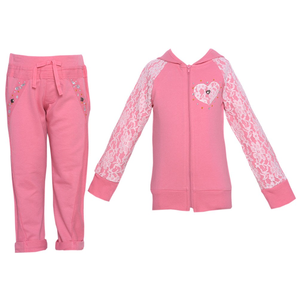 Girls Pink Lace Detail Stud Hooded Top 2 Pc Pant Set 10