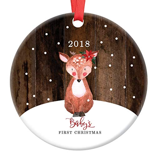 "Baby's First Christmas Ornament 2018, Baby Deer Fawn Porcelain Ceramic Ornament, 3"" Flat Circle Christmas Ornament with Glossy Glaze, Red Ribbon & Free Gift Box 