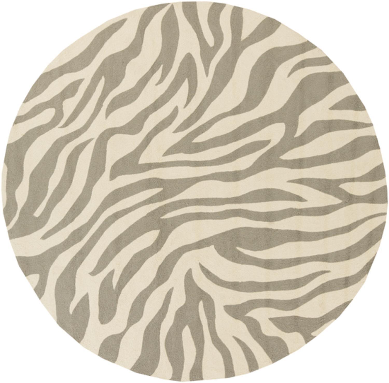 8 Exquisite Safari Sandy Brown And Light Gray Round Zebra