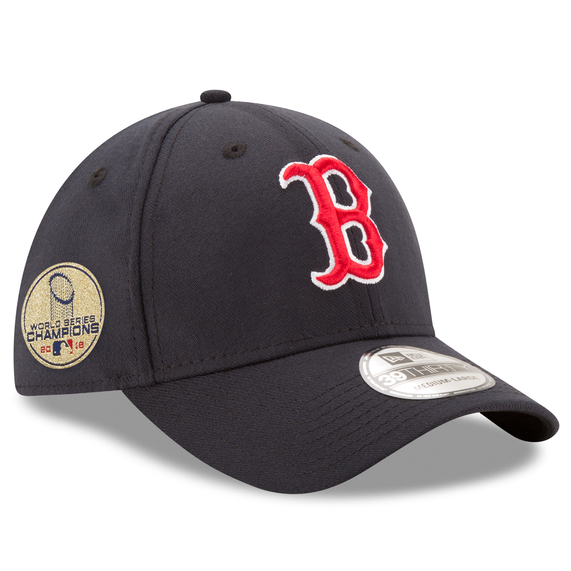 Boston Red Sox New Era 2018 World Series Champions Sidepatch 39THIRTY Flex Hat - Navy
