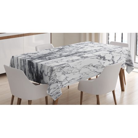 Apartment Decor Tablecloth Murky Marble Rock Motifs With
