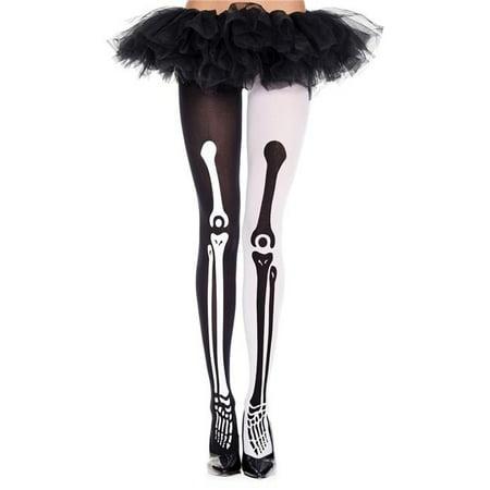 Music Legs 37171-BLACK-WHITE Mismatch Skeleton Print Pantyhose, Black & White](Skeleton Pantyhose)