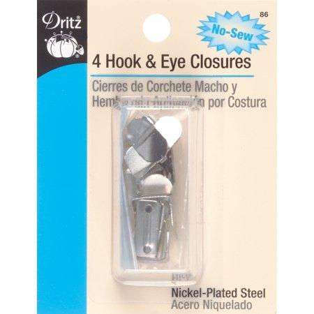 Dritz No-Sew Hook & Eye Closures 4/Pkg-Nickel