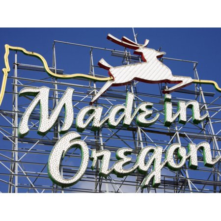 Made in Oregon Sign in Old Town District of Portland, Oregon, United States of America Print Wall Art By Richard (Made In Portland)