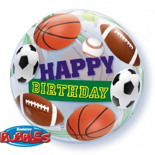 "Happy Birthday! Sports 22"" Bubble Balloon Qualatex"