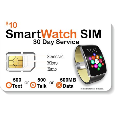 $10 Smart Watch SIM Card For 2G 3G 4G LTE GSM Smartwatches and Wearables - 30 Day Service - USA Canada & Mexico Roaming ()