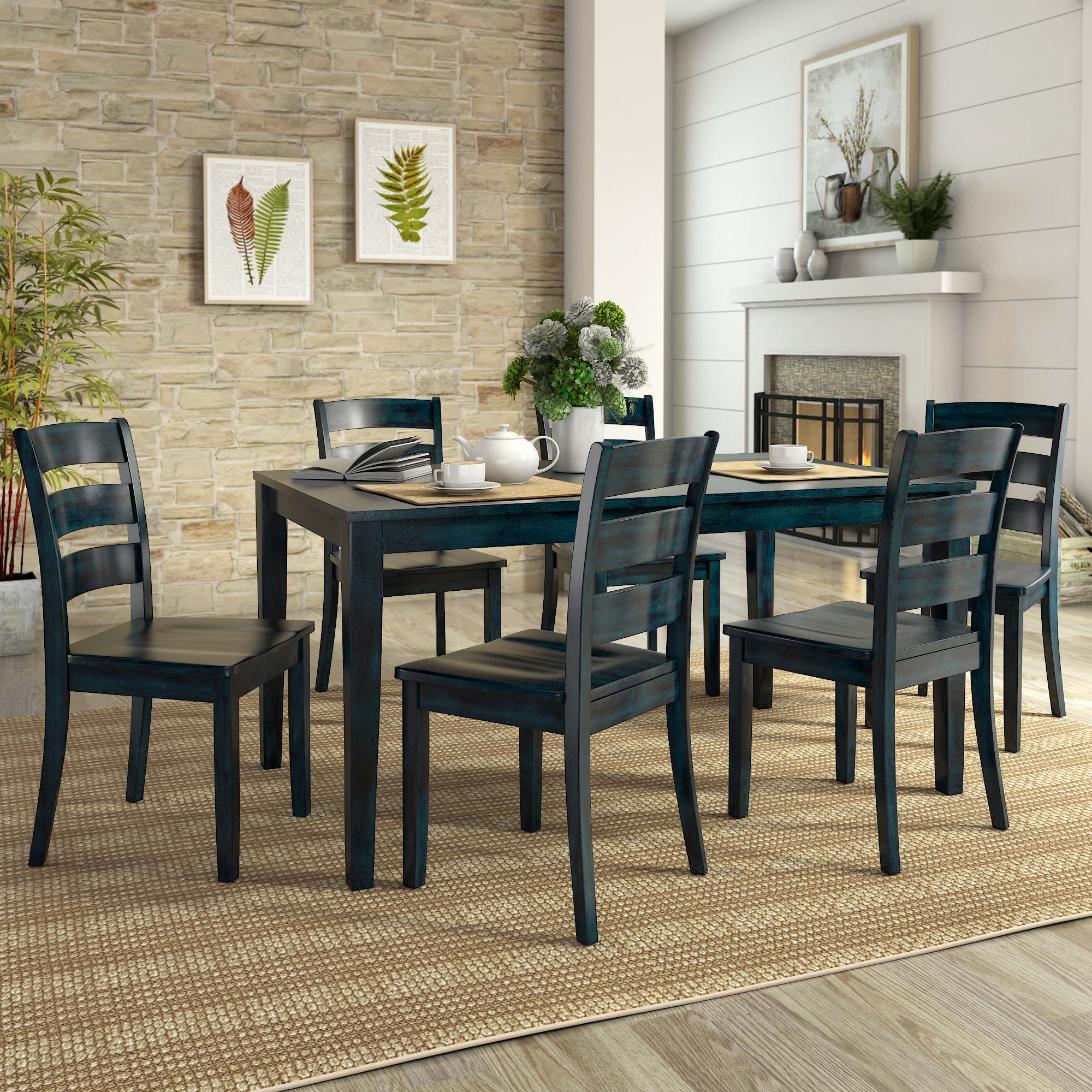 Signature Design By Ashley Woodanville, Woodinville Dining Room Table And Chairs Set Of 7