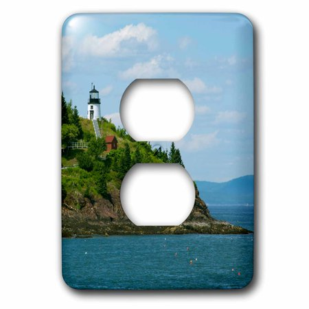 3dRose Maine, Rockland, Penobscot Bay. Owls Head Lighthouse - 2 Plug Outlet Cover (Lighthouse Outlet)