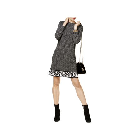 MICHAEL Michael Kors Womens Printed Long Sleeve Wear to Work Dress B/W M (M Kors Sonnenbrille)