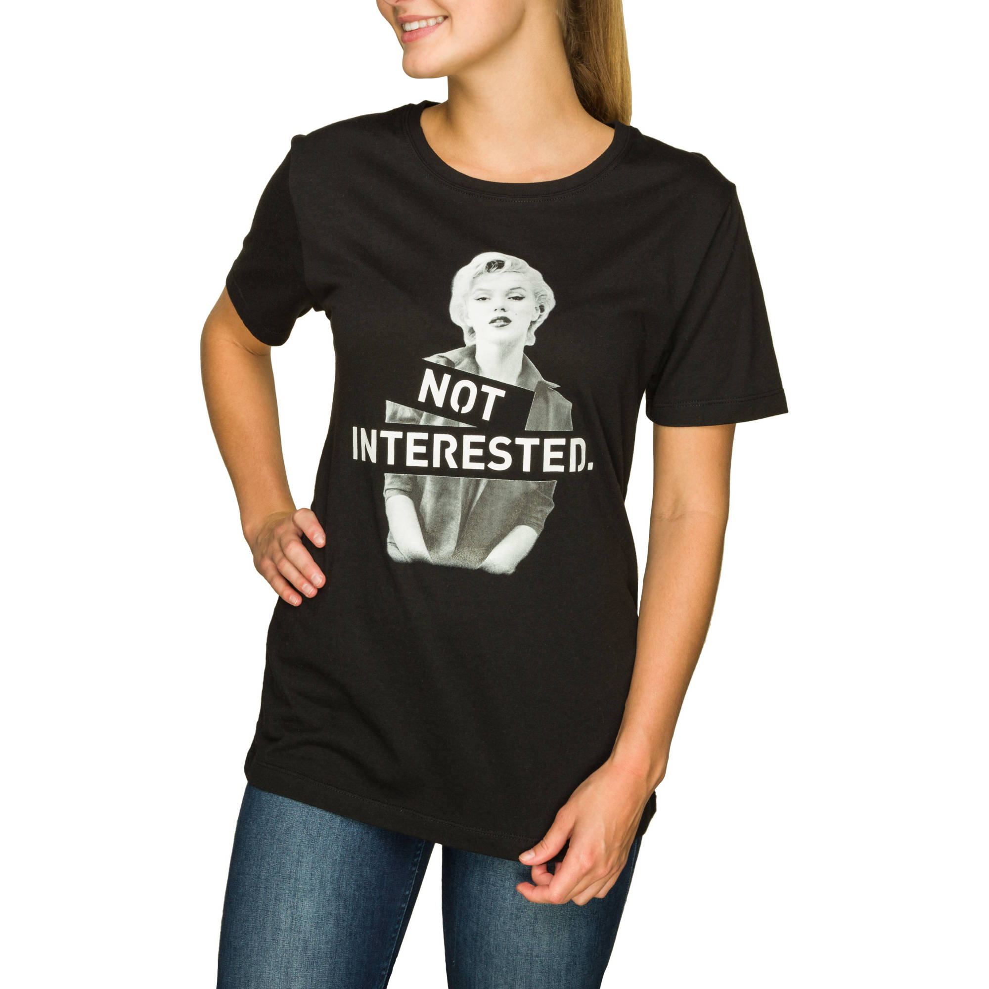 "Juniors' ""Not Interested"" Graphic Boyfriend  Tee"