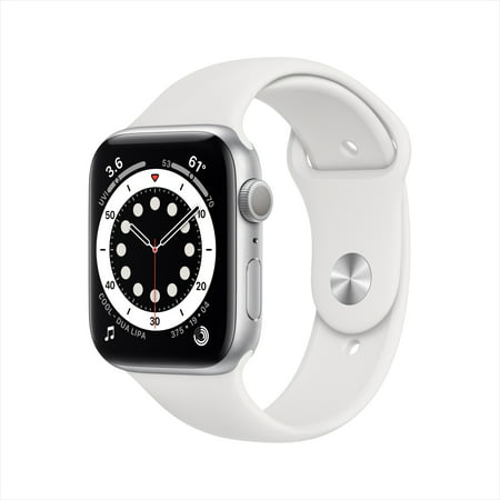 Apple Watch Series 6 GPS, 44mm Silver Aluminum Case with White Sport Band - Regular