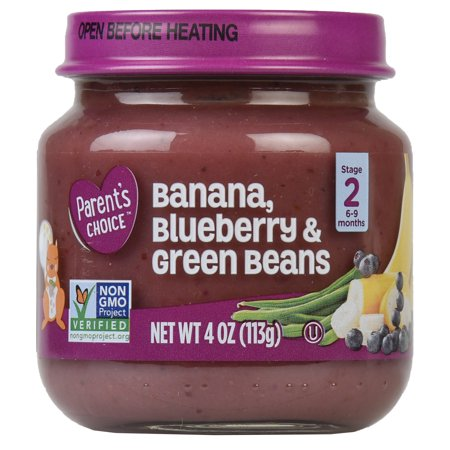 Parent's Choice Baby Food, Banana Blueberry & Green Beans, Stage 2, 4 oz