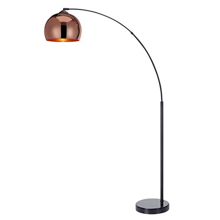 Versanora Arquer Arc Floor Lamp With Rose Gold Finished Shade And Black Marble Base