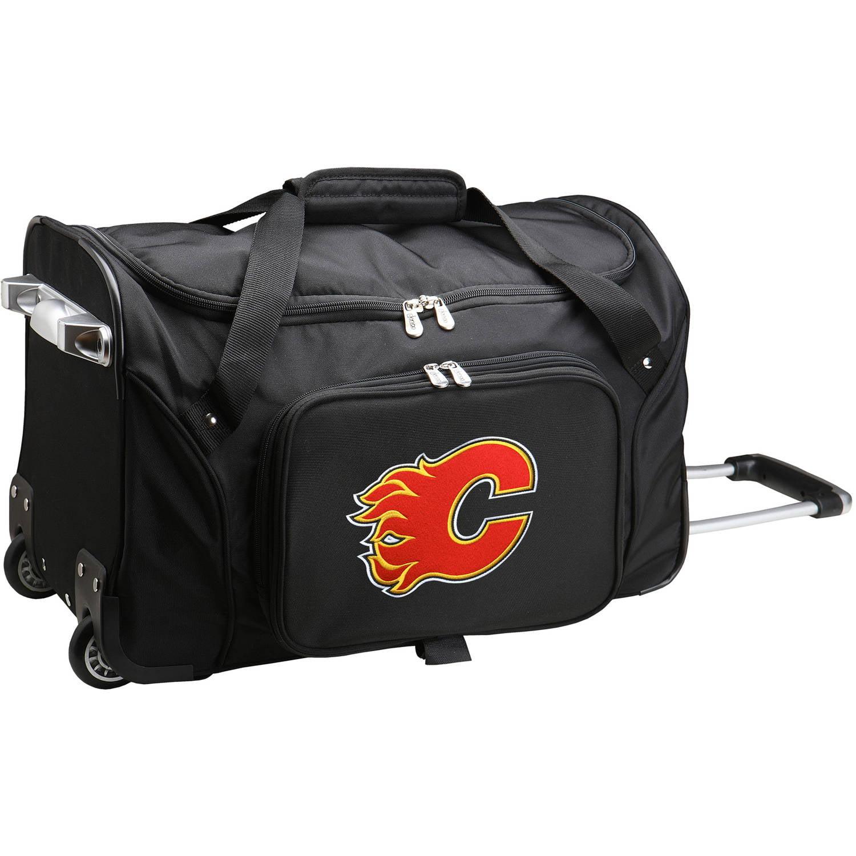 """Denco NHL 22"""" Rolling Duffel, Calgary Flames by Mojo Licensing"""