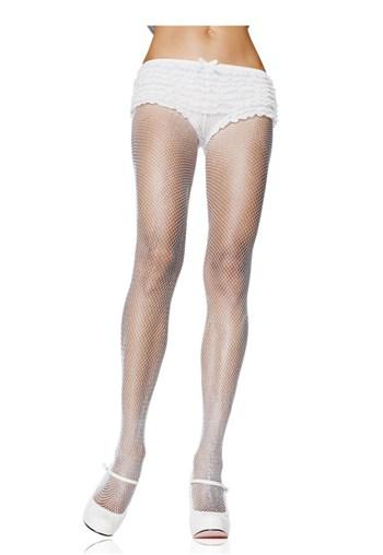 Women's Fishnet Pantyhose, White, One Size
