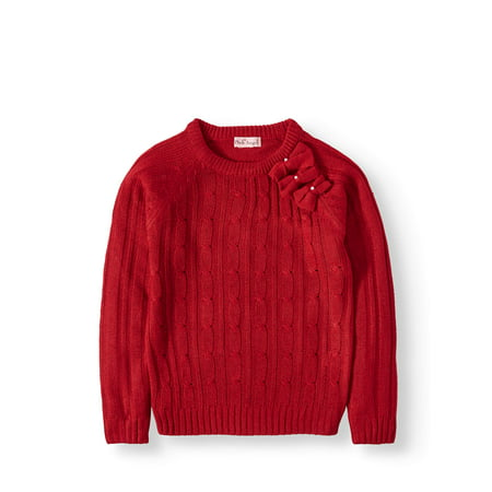 Bow Neck Cable Knit Sweater (Little Girls & Big