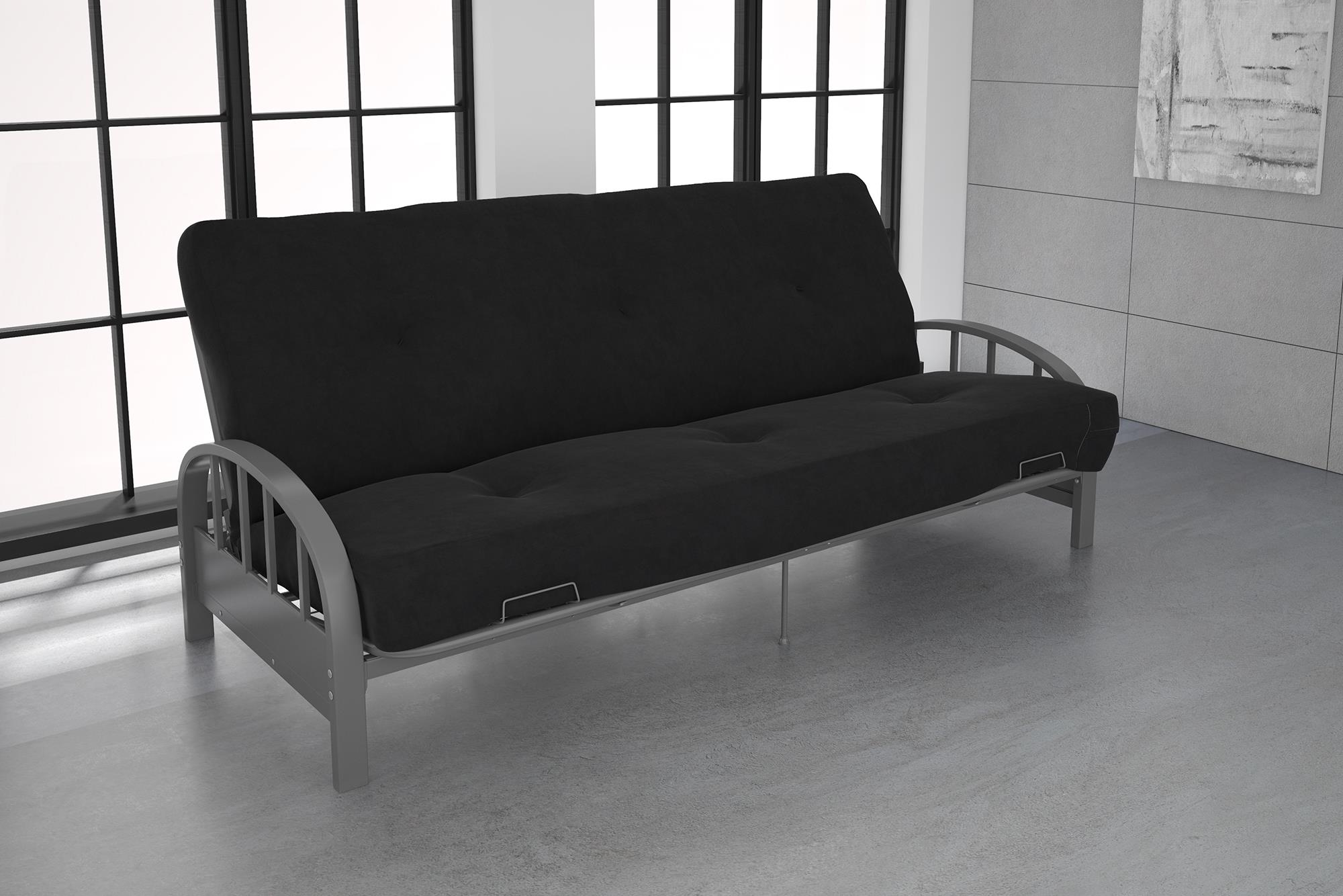 DHP Aiden Silver Metal Futon Frame with Coil Full Futon Mattress, Multiple Colors and Sizes by Dorel Home Products