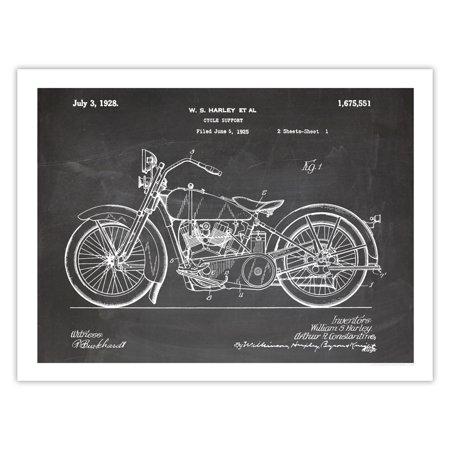 Harley Davidson Motorcycle Poster 1928 Patent Art Handmade Giclée Gallery Print Blackboard (18