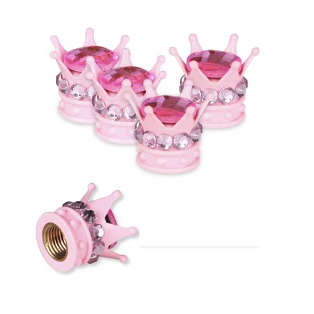 MINI-FACTORY Car Tire Wheel Valve Stem Caps Bling Crystal Crown Accessories Decoration - Baby Pink ()