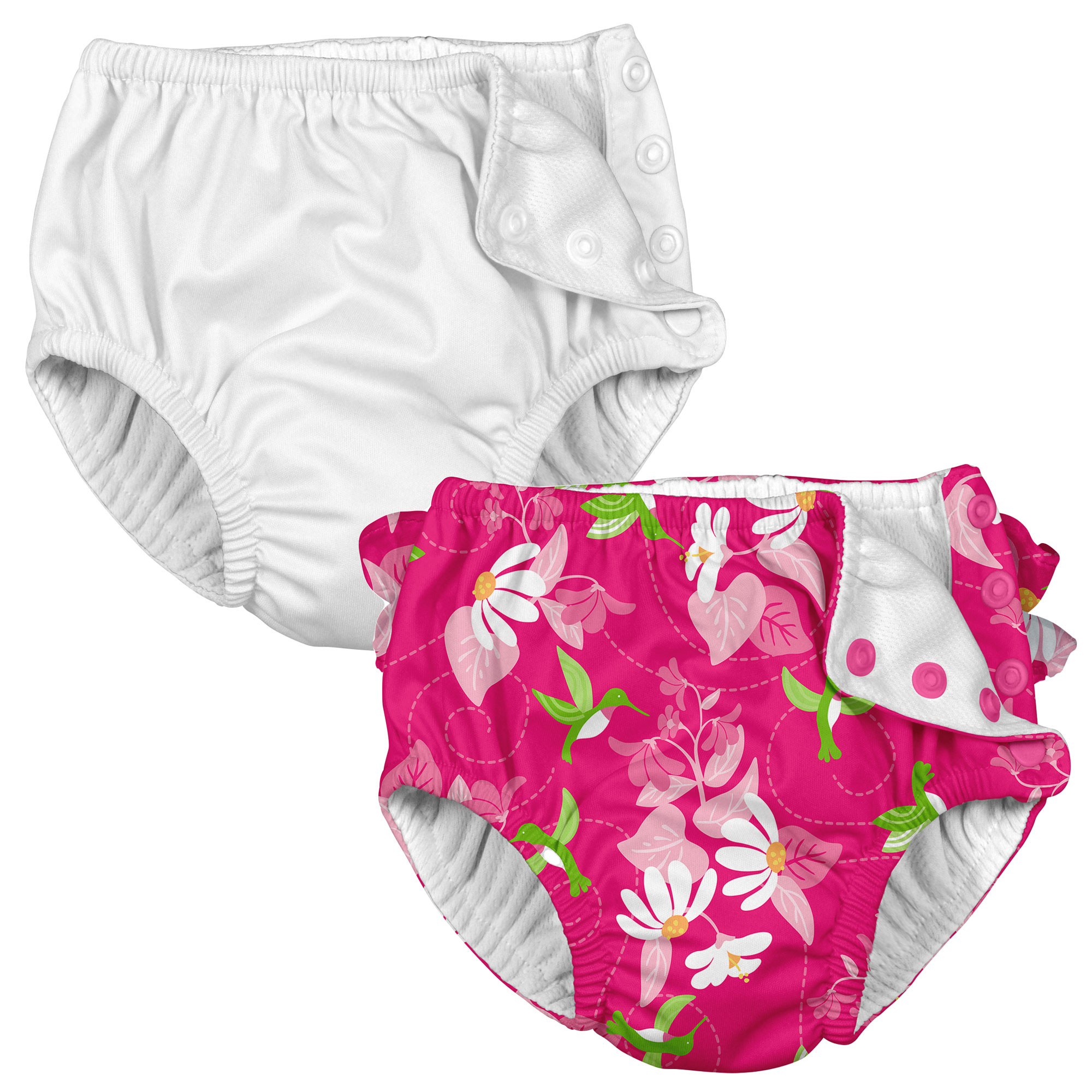 i play Baby and Toddler Snap Reusable Swim Diaper - White and Floral Hummingbird - 2 Pack