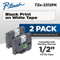 "Brother Genuine P-touch, TZE2312PK, 1/2"" (0.47"") Standard Laminated Tape, Black on White, 2-Pack"