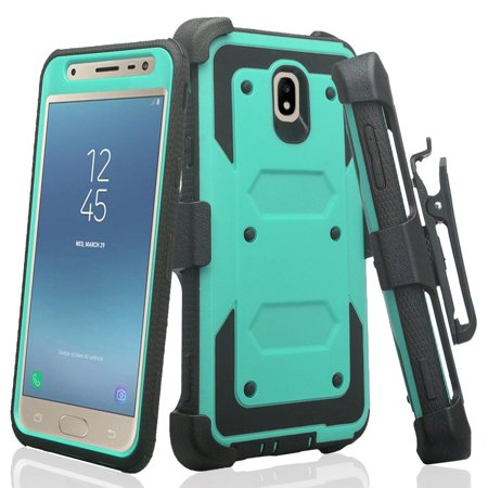 For StraightTalk Samsung Galaxy J7 Crown (S767VL) Case, Shock Proof Case w[Built In Screen Protector] Rugged Heavy Duty Belt Holster,