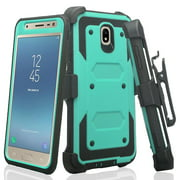 For StraightTalk Samsung Galaxy J7 Crown (S767VL) Case, Shock Proof Case w[Built In Screen Protector] Rugged Heavy Duty Belt Holster, Teal