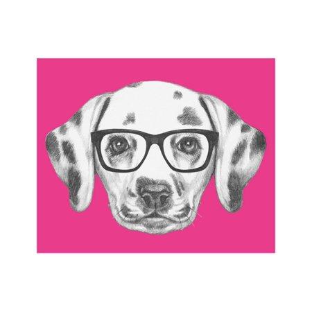 - Portrait of Dalmatian Dog with Glasses. Hand Drawn Illustration. Print Wall Art By victoria_novak