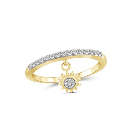 1/5 Carat T.W. White Diamond 14k Gold Over Silver Sun Stackable Ring