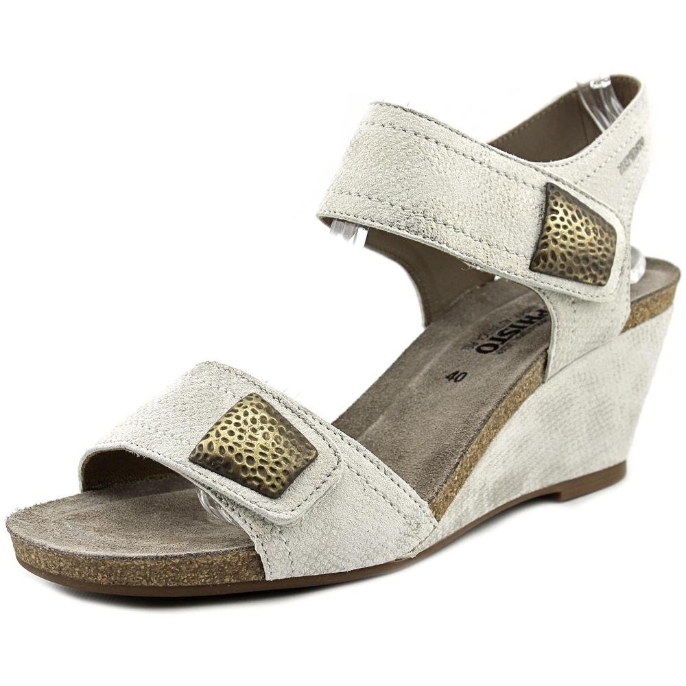 mephisto jackie women  open toe leather white wedge sandal