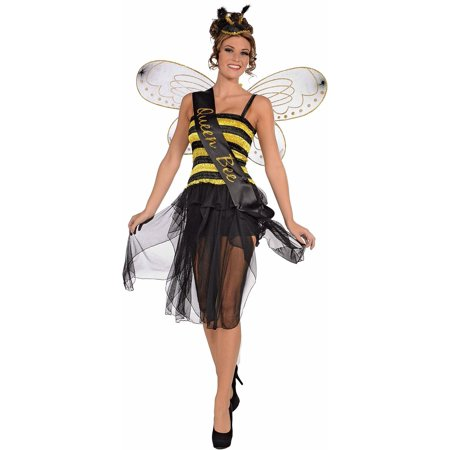 Queen honey bumble bee bug sash womens adult halloween costume accessory One Size - Lady Bug Costume Adult