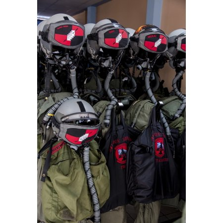 Helmets and flight gear of Hellenic Air Force pilots Stretched Canvas - Timm ZiegenthalerStocktrek Images (12 x 17) ()