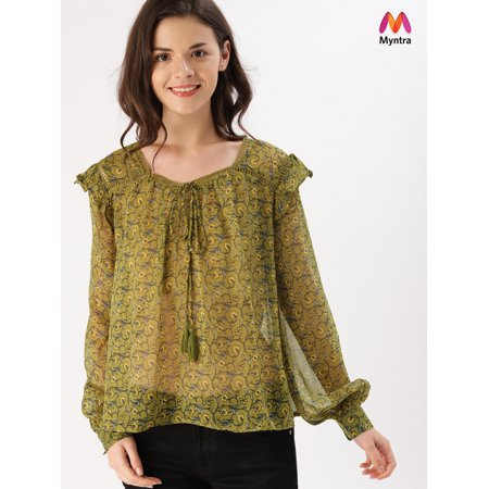 DressBerry Women Green Printed Semi-Sheer Top - image 1 de 1