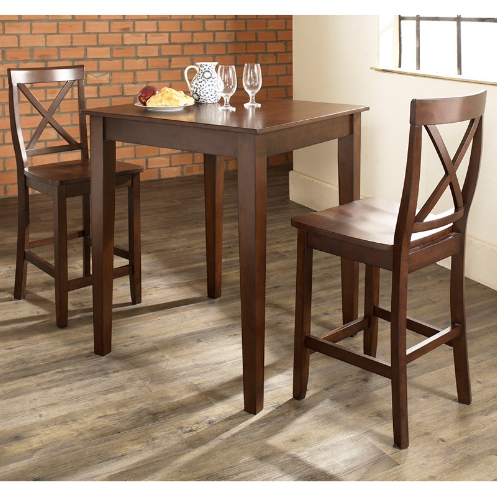 Crosley Furniture 3-Piece Pub Dining Set with Tapered Leg and X-Back Stools