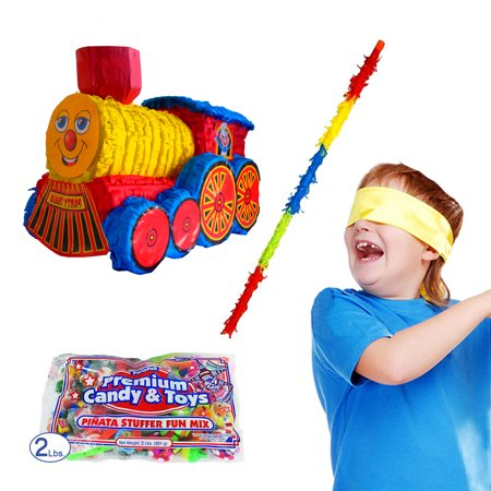 Pinata Stick (Train Pinata Kit Including Pinata, Buster Stick, Bandana, 2 lb Toy and Candy)