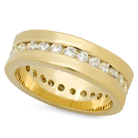 Gold Plated Channel Set (5.5mm Gold Plated Channel Set Round CZs Eternity Band Ring )