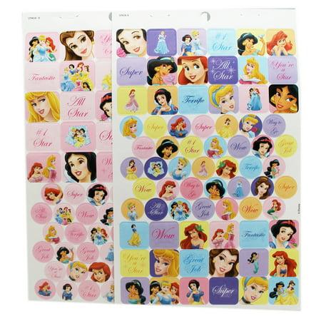 Disney Princess Assorted Character/Color Background Stickers (2 Sheets) (Disney Princess Stickers)