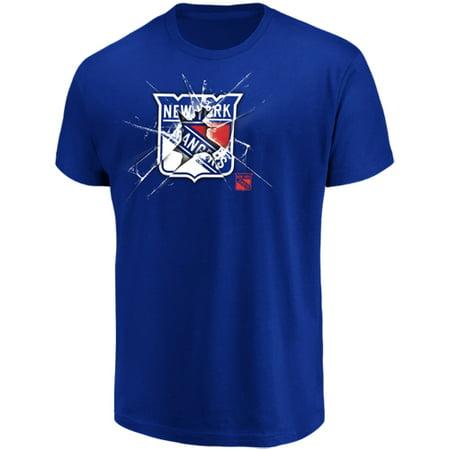 Men's Majestic Blue New York Rangers Poke Check T-Shirt - Blue Mystic Ranger