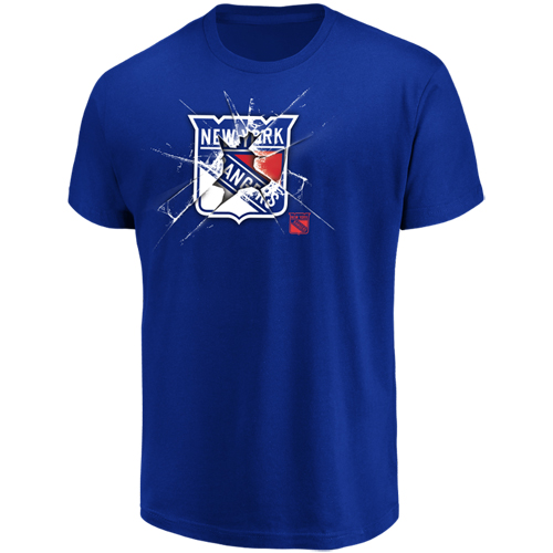 Men's Majestic Blue New York Rangers Poke Check T-Shirt