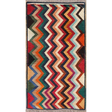 One-Of-A-Kind Gabbeh Geometric Hand Knotted Oriental Area Rug (Gabbeh Oriental Area Rugs)