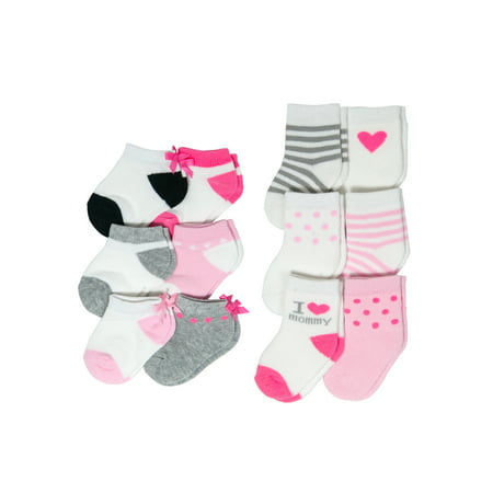 Child of Mine Fashion Sock Set, I Love Mommy and Low Cut Bows, 12 Pack (Baby Girls)