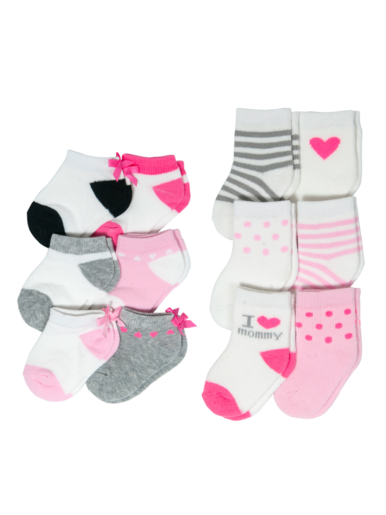 Fashion Sock Set, I Love Mommy and Low Cut Bows, 12 Pack (Baby Girls)