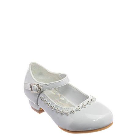 Daisy016D by Little Angel, Baby Girl Block Heel Mary Jane Pump - Rhinestone Wedding Dress Shoes