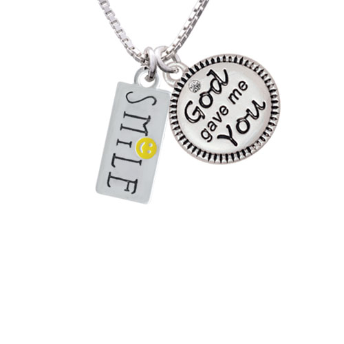 "Smile with Smiley Face Rectangle God Gave Me You Necklace, 18""+2"""